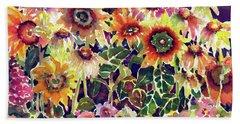 Sunflower Garden Beach Sheet