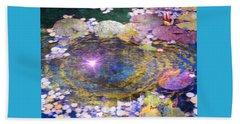 Sunglint On Autumn Lily Pond II Beach Towel