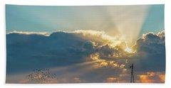 Sunrise And Windmill -01 Beach Towel