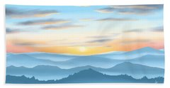Beach Sheet featuring the painting Sunrise by Veronica Minozzi