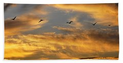 Beach Sheet featuring the photograph Sunset Flight by AJ Schibig