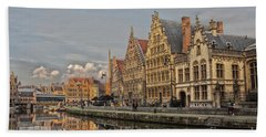Sunset In Ghent Beach Towel by Patricia Hofmeester
