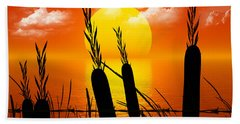 Sunset Lake Beach Sheet by Robert Orinski
