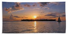 Key West Sunset From Mallory Square Beach Towel