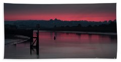Sunset On The River Beach Towel