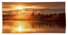 Beach Sheet featuring the photograph Sunset Over A Lake, Pocono Mountains, Pennsylvania by A Gurmankin
