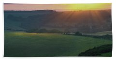 Sunset Over The South Downs Beach Towel