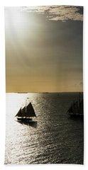 Sunset Schooners Beach Sheet by Arthur Dodd