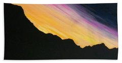 Beach Towel featuring the painting Sunset Silhouette by Kevin Daly