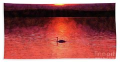 Swan In The Sunset Painting Beach Sheet