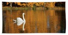 Swan On A Lake Beach Towel by Teemu Tretjakov