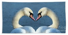 Swans Portrait Beach Towel