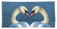 Swans Portrait Beach Sheet