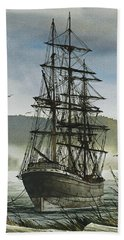 Beach Towel featuring the painting Tall Ship Cove by James Williamson