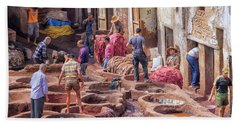 Tannery In Fez Beach Towel by Patricia Hofmeester