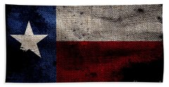Tattered Lone Star Flag On Black Beach Towel