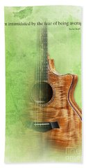 Taylor Inspirational Quote, Acoustic Guitar Original Abstract Art Beach Sheet by Pablo Franchi