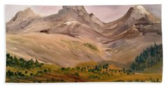 Tetons From The West Beach Towel by Larry Hamilton