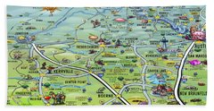 Texas Hill Country Cartoon Map Beach Towel
