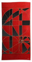 The Alchemy - Divine Proportions - Black On Red Beach Towel