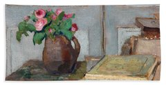 The Artist's Paint Box And Moss Roses Beach Towel