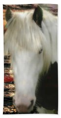 The Beautiful Face Of A Gypsy Vanner Horse Beach Sheet
