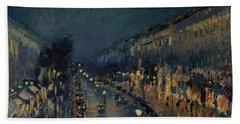 The Boulevard Montmartre At Night Beach Towel