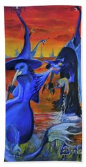 The Cat And The Witch Beach Towel by Christophe Ennis