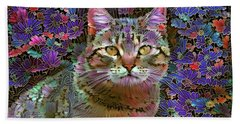 The Cat Who Loved Flowers 2 Beach Towel