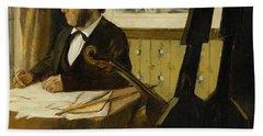 The Cellist Pilet Beach Towel by Edgar Degas
