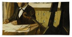 The Cellist Pilet Beach Towel by Edgar Degas