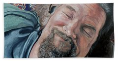 Beach Towel featuring the painting The Dude by Tom Roderick