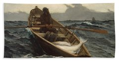 Beach Towel featuring the painting The Fog Warning - 1885 by Winslow Homer