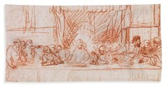 The Last Supper, After Leonardo Da Vinci Beach Towel