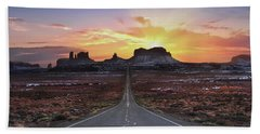 The Long Road To Monument Valley Beach Towel