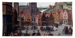 The Marketplace In Bergen Op Zoom Beach Sheet