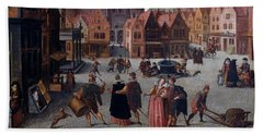 The Marketplace In Bergen Op Zoom Beach Towel