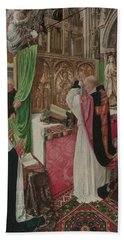 The Mass Of Saint Giles Beach Towel by Master of Saint Giles
