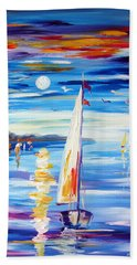 The Moon And The Sails Beach Towel
