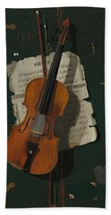 The Old Violin Beach Towel by Mountain Dreams
