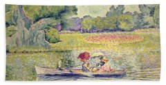 The Promenade In The Bois De Boulogne Beach Sheet by Henri-Edmond Cross