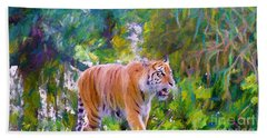 Beach Towel featuring the painting The  Prowler by Judy Kay