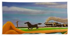 Beach Towel featuring the painting The Race by Margaret Harmon