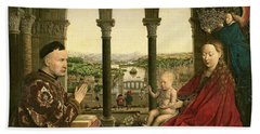 The Rolin Madonna Beach Towel by Jan van Eyck