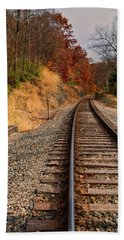 Beach Towel featuring the photograph The Tracks In The Fall by Mark Dodd