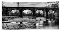 Thomas Viaduct In Black And White Beach Towel