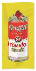 Tomato Spray Can Beach Towel by Gary Grayson