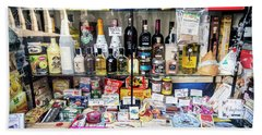 Traditional Spanish Deli Food Shop Display In Santiago De Compos Beach Towel