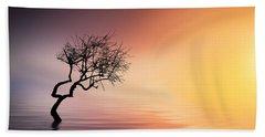 Tree At Lake Beach Towel by Bess Hamiti