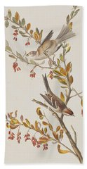 Tree Sparrow Beach Towel by John James Audubon